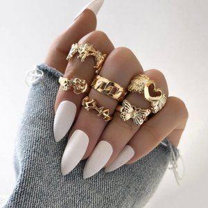 Vintage Gold y2k Ring Set 🤍☁️